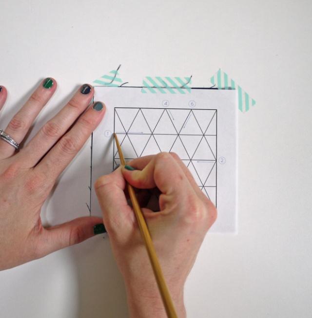 transferencia de un dibujo, tutorial sashiko por Saké Puppets