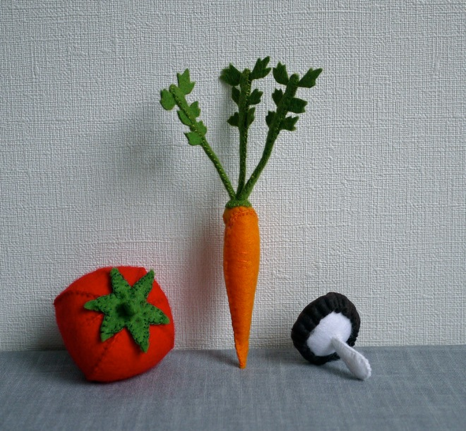 Veggies in a line.