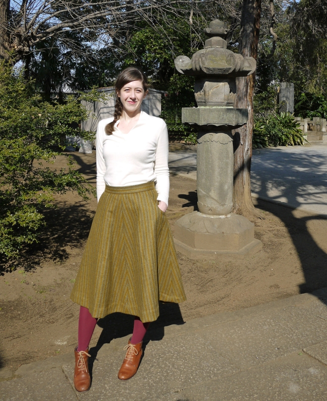 Sewaholic skirt, vintage wool