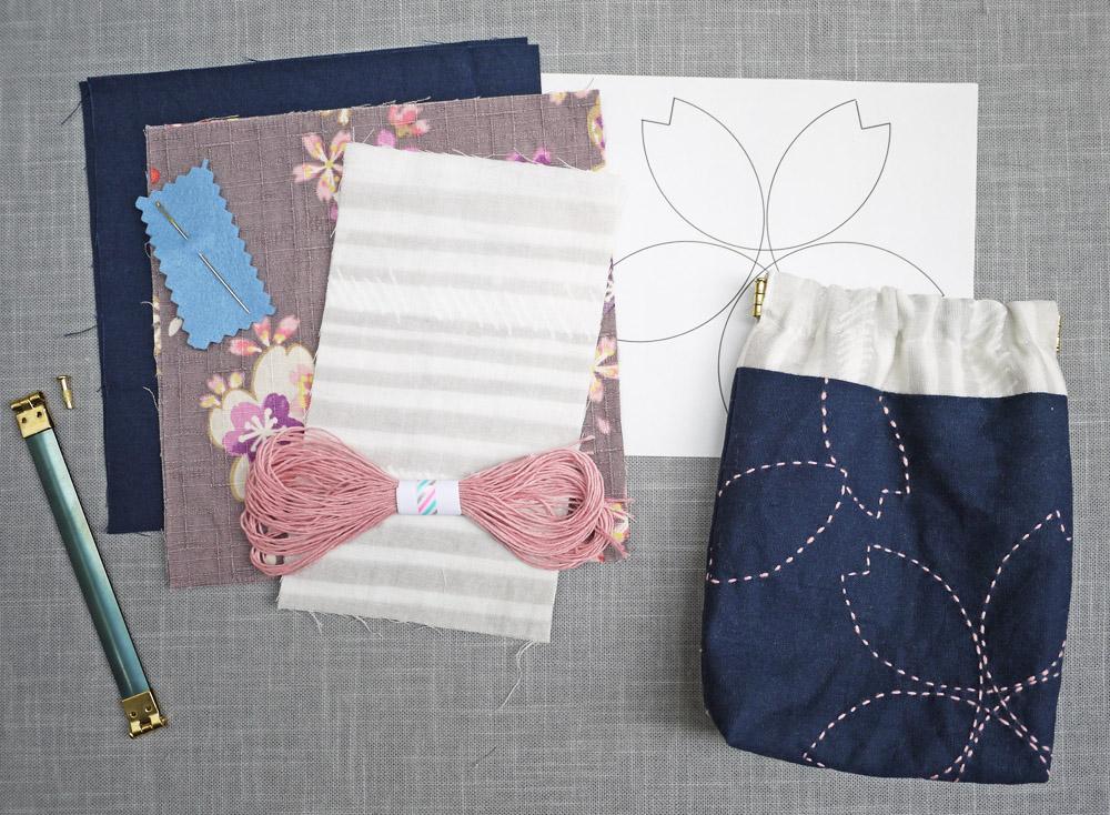 sakura sashiko embroidery kit