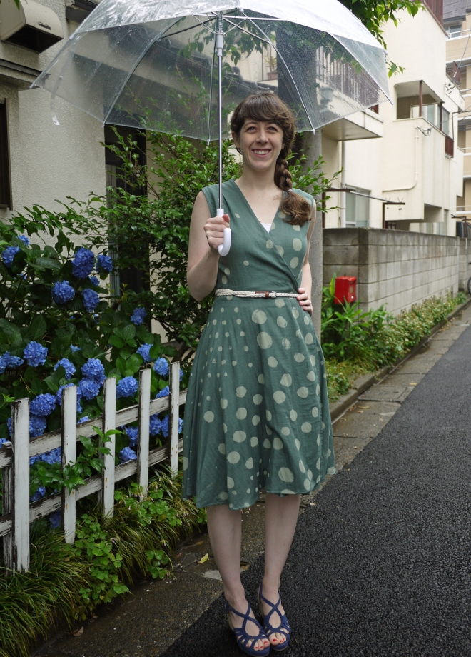 Rainy season wrap dress, by Saké Puppets. PS, my neighbors have pretty hydrangeas.