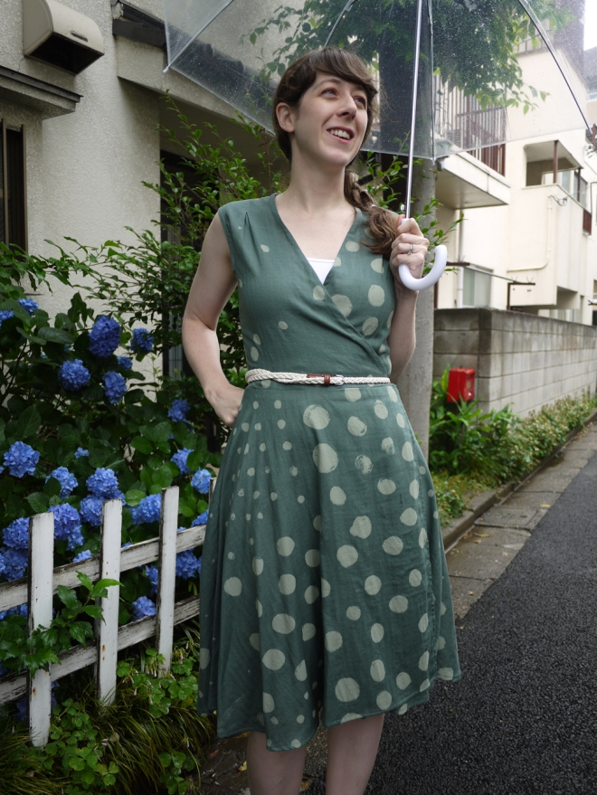 Rainy season wrap dress, by Saké Puppets