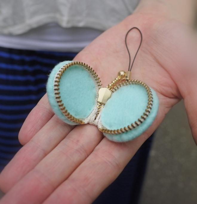 Voila! A mini macaron zipper pouch, on a string.