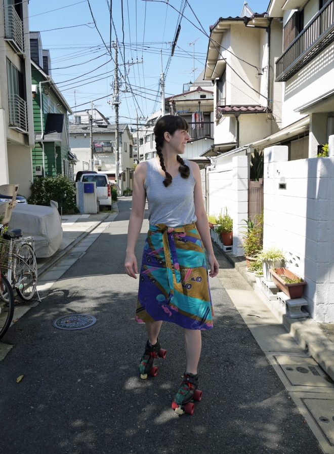 Roller skate wrap skirt by Saké Puppets