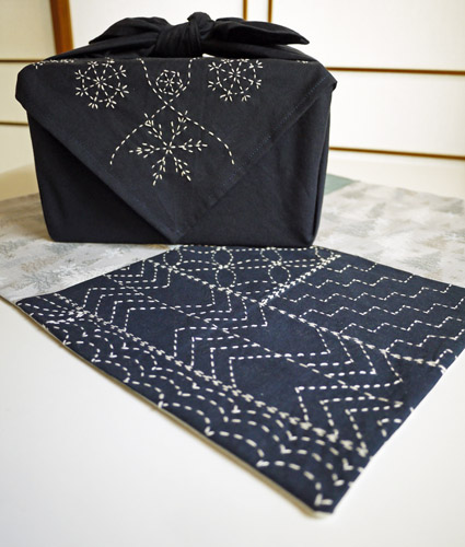 furoshiki as tablecloth by Saké Puppets