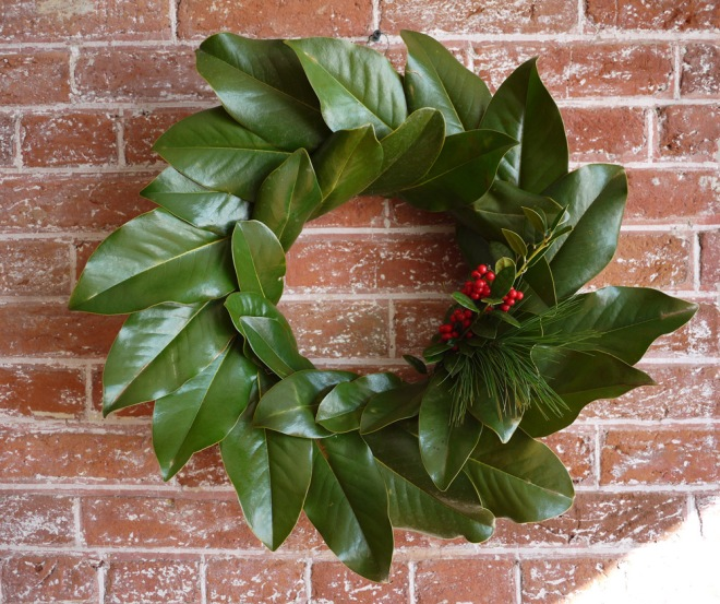 Attempt #2, a magnolia wreath with holly